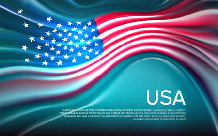 USA flag background. Blurred pattern of light lines in the colors of the us flag, business brochure. State banner, american poster, patriotic cover, flyer. Vector design