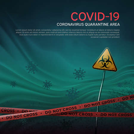 Layout of the quarantine area of coronavirus epidemic covid-19. Pandemic covid-19. Epidemic barrage lines. Coronavirus quarantine warning tapes and biohazard sign. Vector grunge template