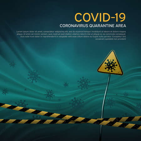 Layout of the quarantine area of coronavirus epidemic covid-19. Coronavirus quarantine warning tapes, sign of viral hazard. Pandemic covid-19. Epidemic barrage lines. Vector grunge template