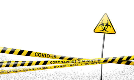 Layout of the quarantine area of coronavirus epidemic covid-19. Coronavirus quarantine warning tapes and biohazard sign. Pandemic covid 19. Epidemic barrage lines. Vector grunge template