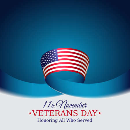 Happy veterans day banner. US national day november 11. Waving american flag on blue sky background. Vector illustration, poster, typography design