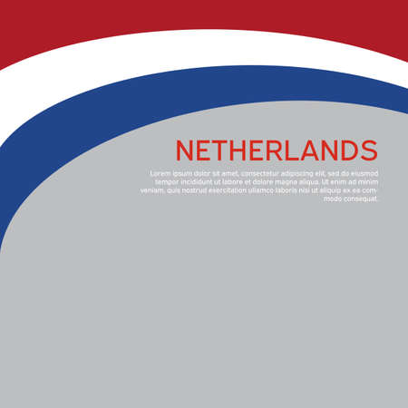 Abstract waving flag of netherlands. Creative background for patriotic holiday card design. National Poster. Cover, banner in state colors of the Netherlands. Vector tricolor design Vectores