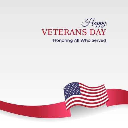 Happy veterans day banner. Waving american flag on light background. US national day november 11. Poster, typography design, vector illustration