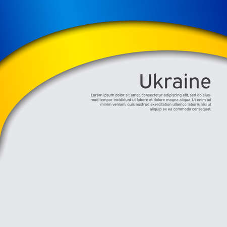 Cover, banner in state colors of Ukraine. Abstract waving flag of ukraine. Paper cut style. Creative background for patriotic holiday card design. National Poster. Vector design Vectores