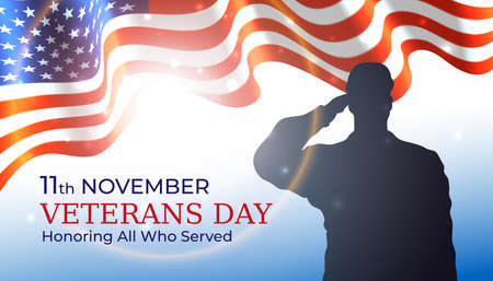 Happy veterans day banner, waving american flag, silhouette of a saluting us army soldier veteran on blue sky background. US national day november 11. Poster, typography design, vector illustration Vectores