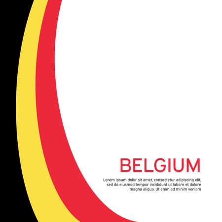 Abstract waving belgium flag. Creative background for belgium holidays postcard design. Business booklet. Flat style. Graphic background for poster. Vector illustration of the belgian flag. banner Vectores