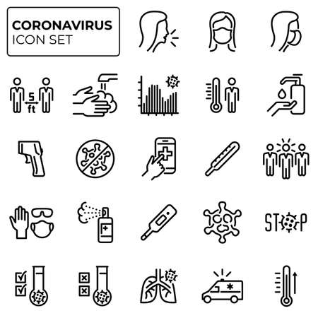 Coronavirus outline icons set. Second wave of coronavirus epidemics. COVID-19 prevention and protection linear sign collection.