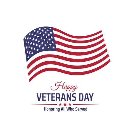 Happy veterans day banner, greeting card. Waving american flag on white background. National holiday of the USA veterans day 11 November. Vectores