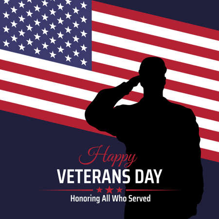 Happy veterans day banner, silhouette of a saluting us army soldier veteran on flag background. US national day november 11.