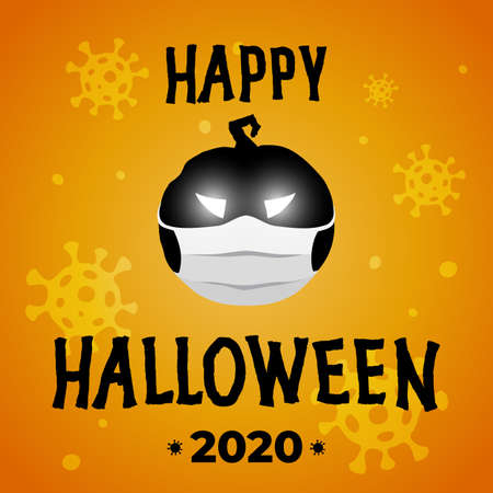 Happy halloween vector poster. Halloween party 2020 during the covid-19 coronavirus epidemic. Pumpkin Jack lantern in medical mask. Banner, viral background