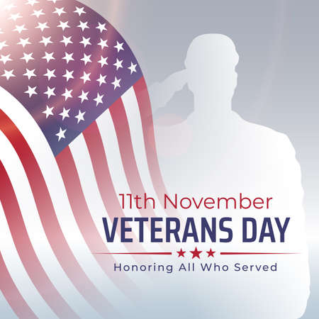 Happy veterans day banner, greeting card. Waving american flag on light background. National holiday of the USA veterans day 11 November. Poster, typography design, vector illustration