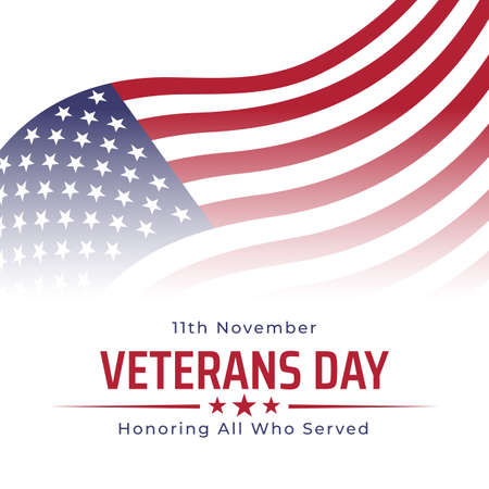 Happy veterans day banner, greeting card. Waving american flag on white background. National holiday of the USA veterans day 11 November. Poster, typography design, vector illustration