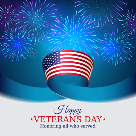 Happy veterans day banner. US national day november 11. American flag on blue sky background with fireworks. Typography design, poster, vector illustration