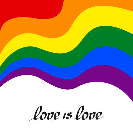 LGBT concept - rainbow pride flag lgbtq with text love is love. National Coming Out Day October 11. Wavy rainbow LGBTQ background in flat style. Multicolor transgender gay lesbians vector poster Vectores