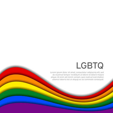 LGBT concept - rainbow pride flag lgbtq with place for text. National Coming Out Day October 11. Wavy rainbow LGBTQ background in paper cut style. Multicolor transgender gay lesbians vector poster Vectores