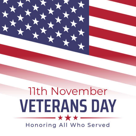 Happy veterans day banner, greeting card. American flag on white background. National holiday of the USA veterans day 11 November. Poster, typography design, vector illustration