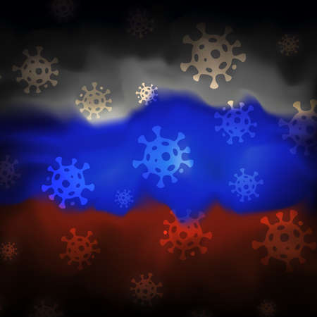 COVID-19 coronavirus epidemic in russia. Virus icons on abstract russian flag background. COVID-19 coronavirus pandemic, pneumonia. Banner design concept. Vector