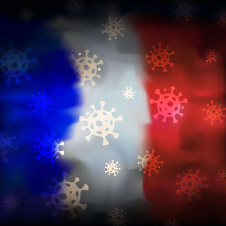 COVID-19 coronavirus epidemic in france. Virus icons on abstract french flag background. COVID-19 coronavirus pandemic, pneumonia. Banner design concept. Vector