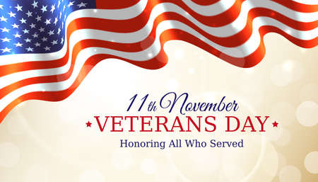 Happy veterans day banner, waving american flag on golden bokeh background. US national day november 11. Poster, typography design, vector illustration Ilustracja