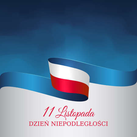 Banner november 11, poland independence day, vector template of the polish flag. National holiday. Waving flag on blue background. Translation: November 11, Independence Day of Poland
