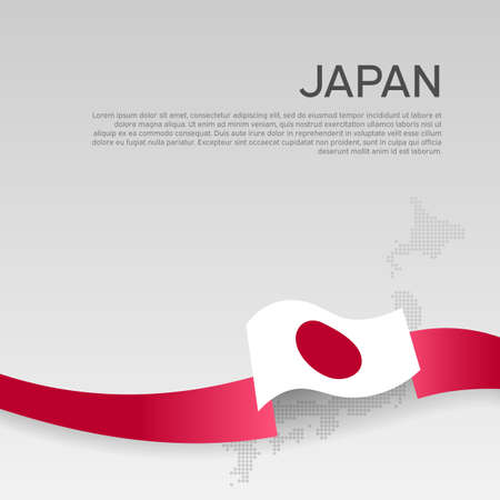 Japan wavy flag and mosaic map on white background. Wavy ribbon color flag of japan. National poster.