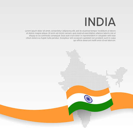 India wavy flag and mosaic map on white background. Wavy ribbon colors flag of india. National poster.