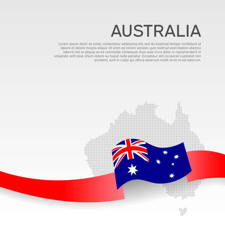 Australia wavy flag and mosaic map on white background. Wavy ribbon color flag of australia. Business booklet. National poster. Ilustracja