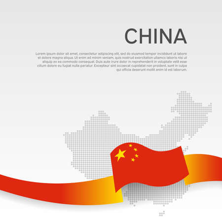 China wavy flag and mosaic map on white background. Wavy ribbon color flag of china. National poster.