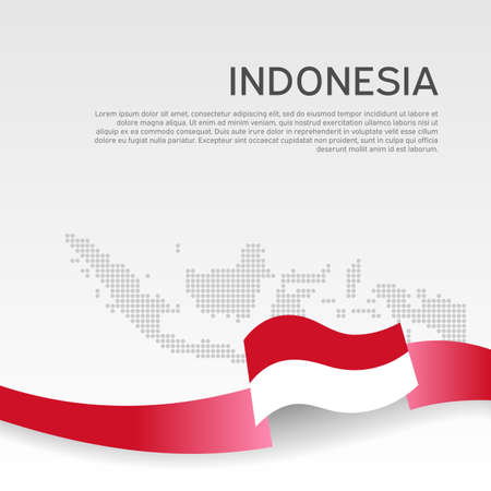 Indonesia wavy flag and mosaic map on white background. Wavy ribbon indonesia flag colors. National poster. Ilustracja