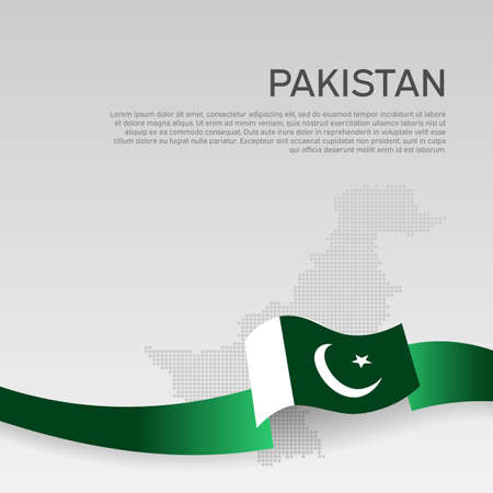Pakistan wavy flag and mosaic map on white background. Wavy ribbon colors flag of pakistan. National poster.