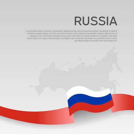 Russia wavy flag and mosaic map on white background. Wavy ribbon in the color of the russian flag. National poster. State russian patriotic cover, flyer. Business booklet.