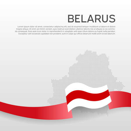 Belarus wavy flag and mosaic map on white background. Wavy ribbon in the colors of the flag of belarus. National poster.