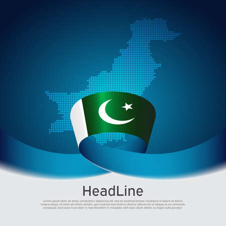Pakistan flag background. Mosaic map, the flag of Pakistan on blue white background. National poster. State patriotic banner, cover, business flyer Ilustracja