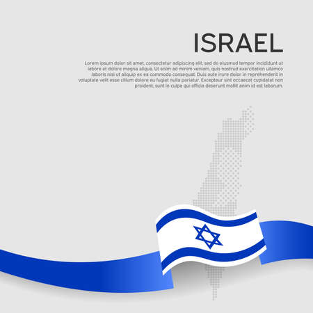 Israel wavy flag and mosaic map on white background. Color wavy ribbons of the flag of Israel. National poster. State Israeli patriotic flyer, banner. Business booklet.