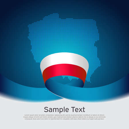 Poland flag background. Mosaic map, poland flag on blue white background. National poster. Polish state patriotic banner, cover, business flyer.
