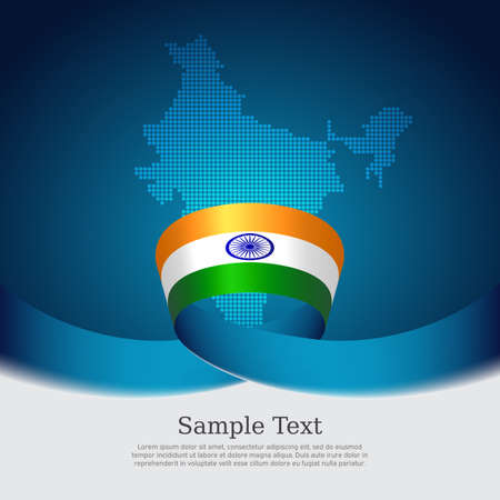 India flag background. Mosaic map, flag of india on blue white background. National poster.