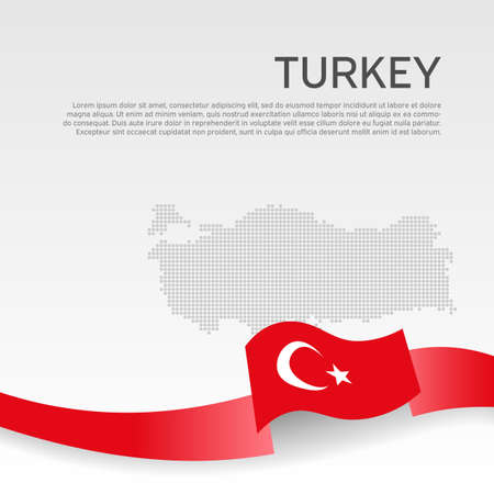 Background with wavy flag and mosaic map of turkey. Turkey flag with wavy ribbon on a white. National poster design. Business booklet. State turkish patriotic banner, flyer. Vector illustration