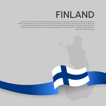 Finland wavy flag and mosaic map on white background. Finland flag wavy ribbon. National poster design. State finnish patriotic banner, flyer. Business booklet. Vector illustration Ilustracja