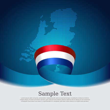 Netherlands flag background. Mosaic map, netherlands flag on blue white background. National poster. Vector design. State patriotic banner, cover, business flyer