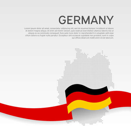 Germany wavy flag and mosaic map on white background. Wavy ribbon in colors of germany flag. National poster. Vector tricolor design. Business booklet. State germanic patriotic flyer, cover
