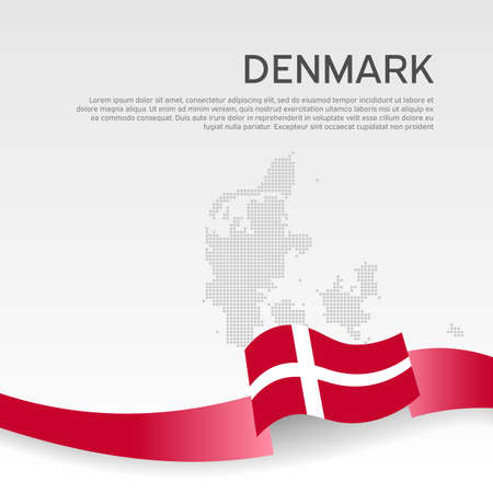 Denmark wavy flag and mosaic map on white background. Denmark flag color wavy ribbon. National poster design. State danish patriotic banner, flyer. Business booklet. Vector illustration Ilustracja