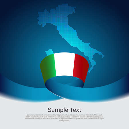 Italy flag background. Mosaic map, flag of italy on a blue white background. National poster. Vector tricolor design. State italian patriotic banner, business flyer, cover