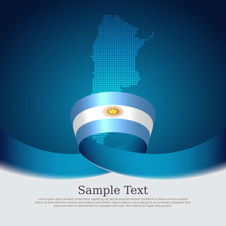 Argentina flag background. Mosaic map, argentina flag on a blue white background. National poster. Vector banner design. State patriotic flyer, business cover Ilustracja
