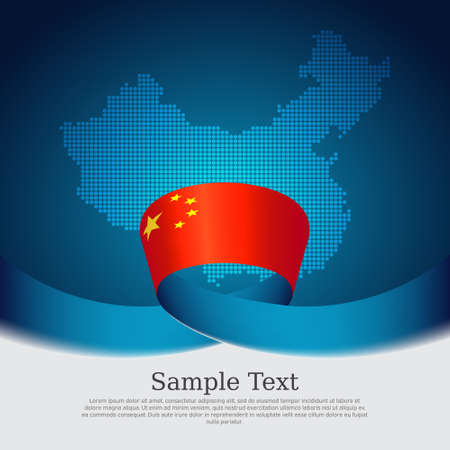 China flag background. Mosaic map, flag of china on a blue white background. National poster. Vector design. State chinese patriotic banner, cover, business flyer Ilustracja