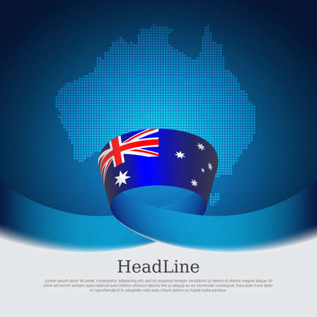 Australia flag background. Mosaic map, australian flag on a blue white background. National poster. Vector design. State australian patriotic banner, cover, business flyer Ilustracja