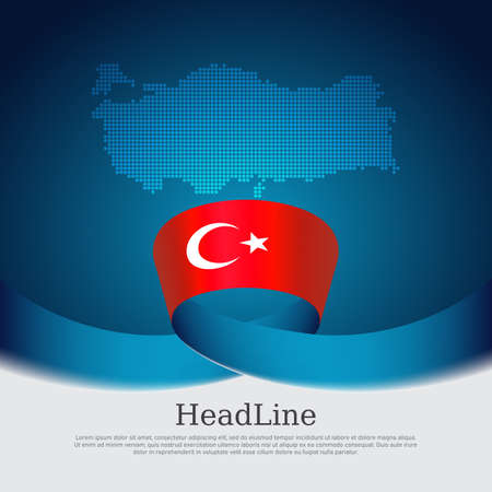 Turkey flag with wavy ribbon on a blue white background. Background with flag of turkey, mosaic map. Turkish national poster. Vector design state patriotic banner, cover, business flyer