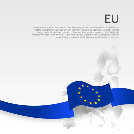 European union wavy flag and mosaic map on white background. European union flag with blue wavy ribbon. Layout banner. Cover template. Business booklet. EU poster. Vector simple design Ilustracja