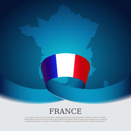 France flag background. Mosaic map, flag of france on a blue white background. National poster. Vector tricolor brochure design. State french patriotic banner, cover, business flyer Ilustracja