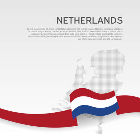 Netherlands wavy flag and mosaic map on white background. Netherlands flag wavy ribbon. National poster. Business booklet. Vector flat design. State patriotic cover, flyer