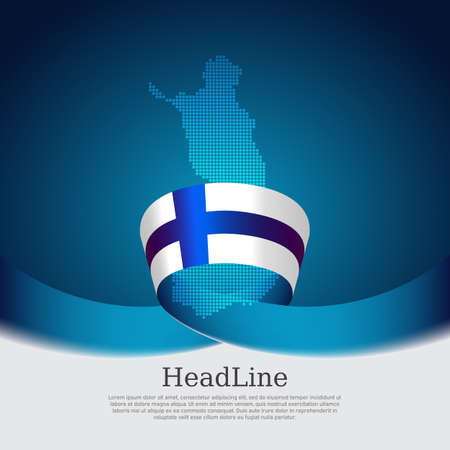 Background with flag of finland. National finnish poster. Finland flag, mosaic map on a blue white background. Vector design state patriotic banner, cover, business flyer